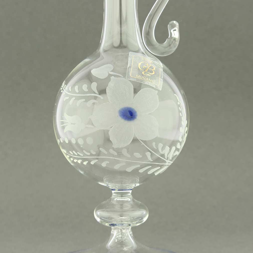 Cristallo and Blue Murano Glass Carafe Decanter
