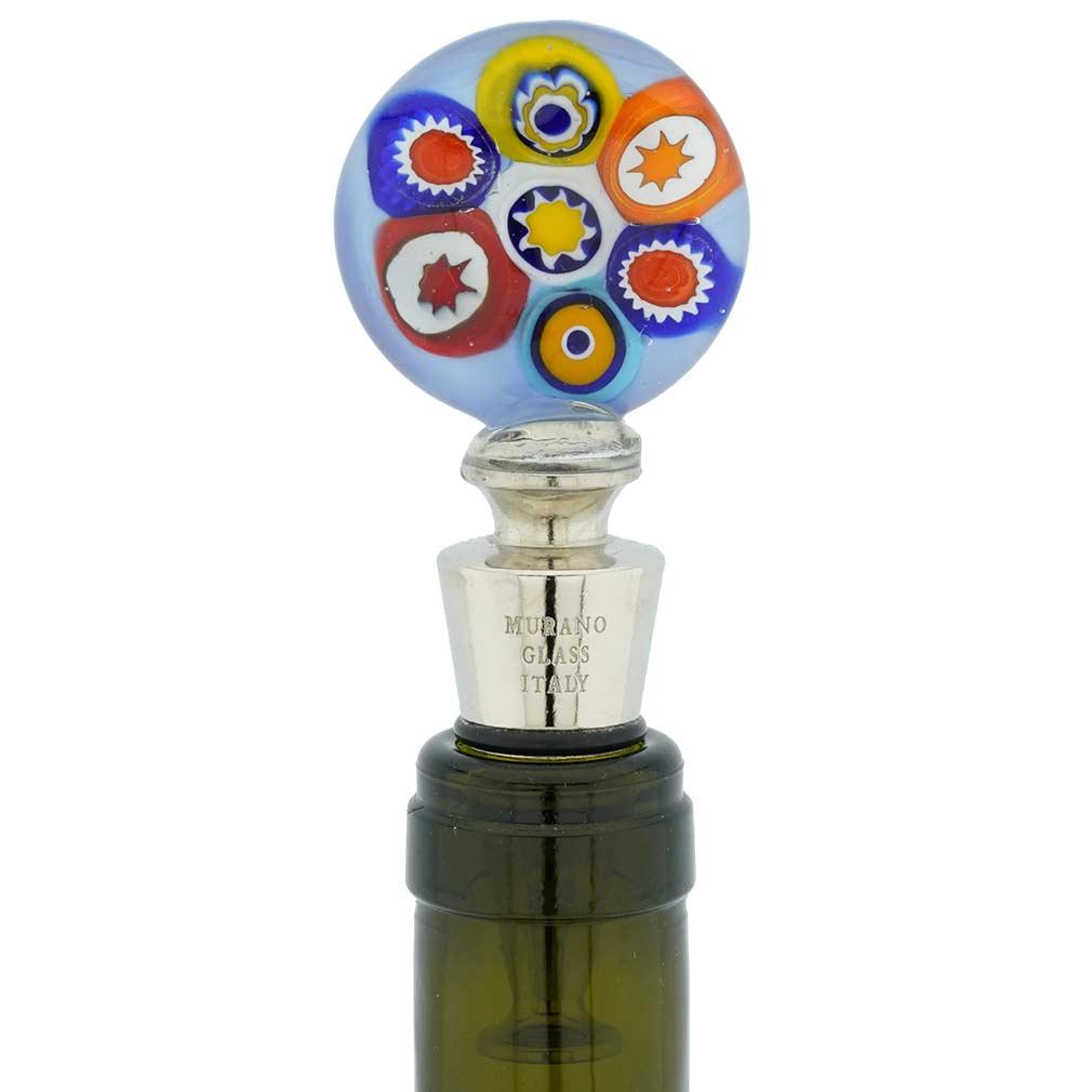 Murano Glass Millefiori bottle stopper - Aqua