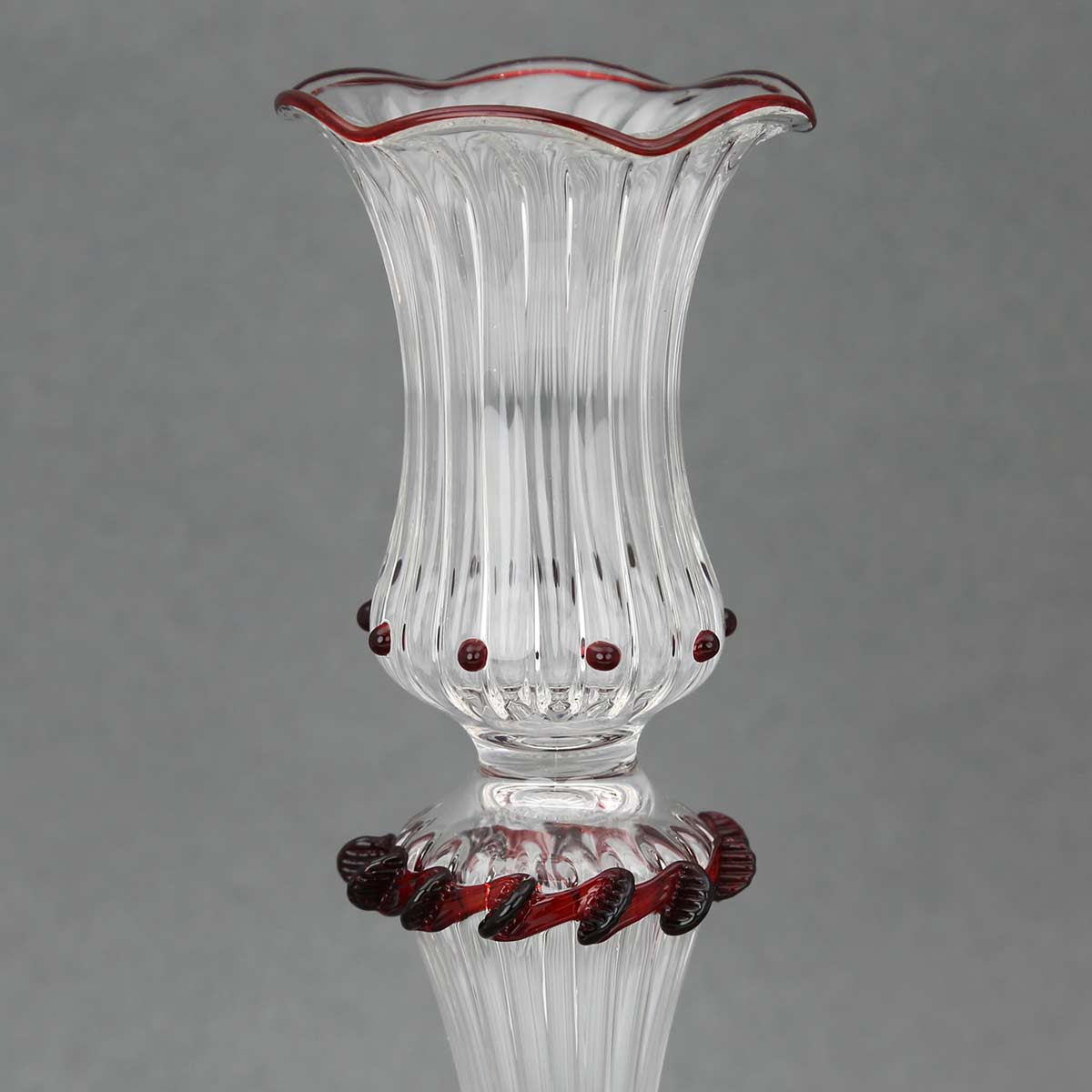Cristallo and Red Murano Glass Candle Holder