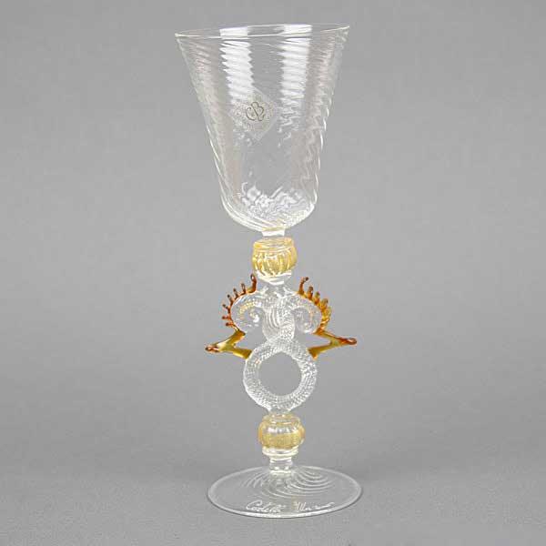 Murano Glass Museum Goblet - Amber