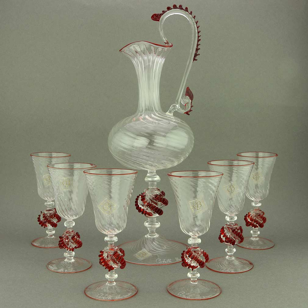 Murano Glass Decanter Set with Pitcher