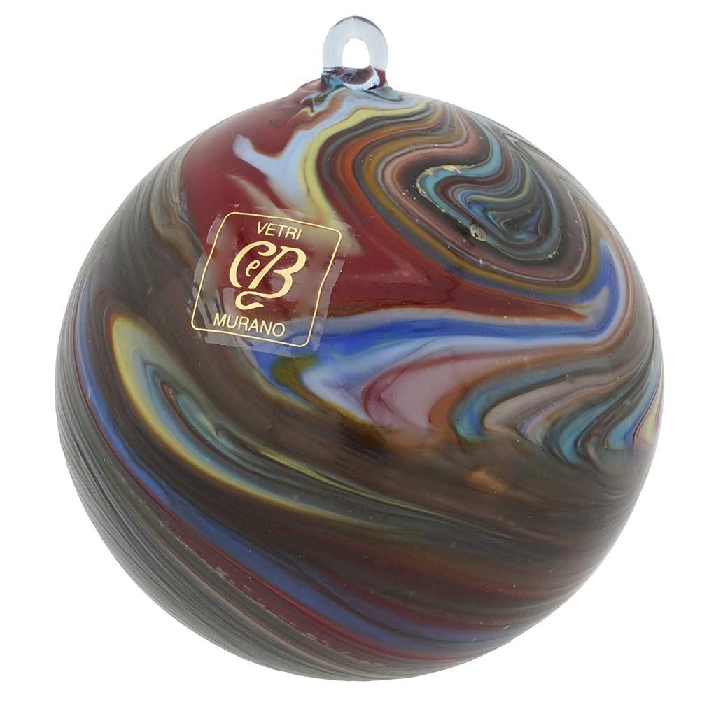 Murano Glass Chalcedony Christmas Ornament - Dark Red Swirl