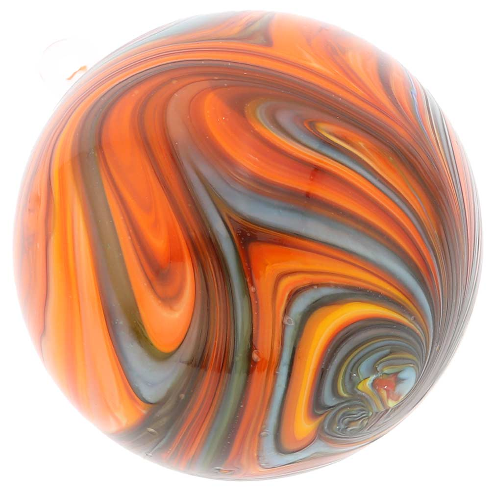 Murano Glass Chalcedony Christmas Ornament - Rainbow Swirl