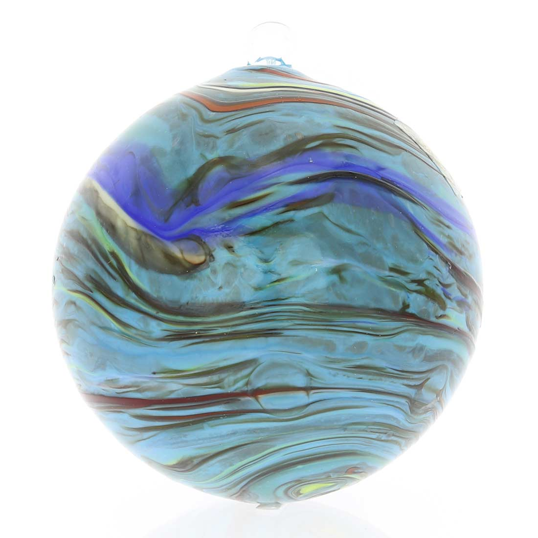 Murano Glass Chalcedony Christmas Ornament - Turquoise