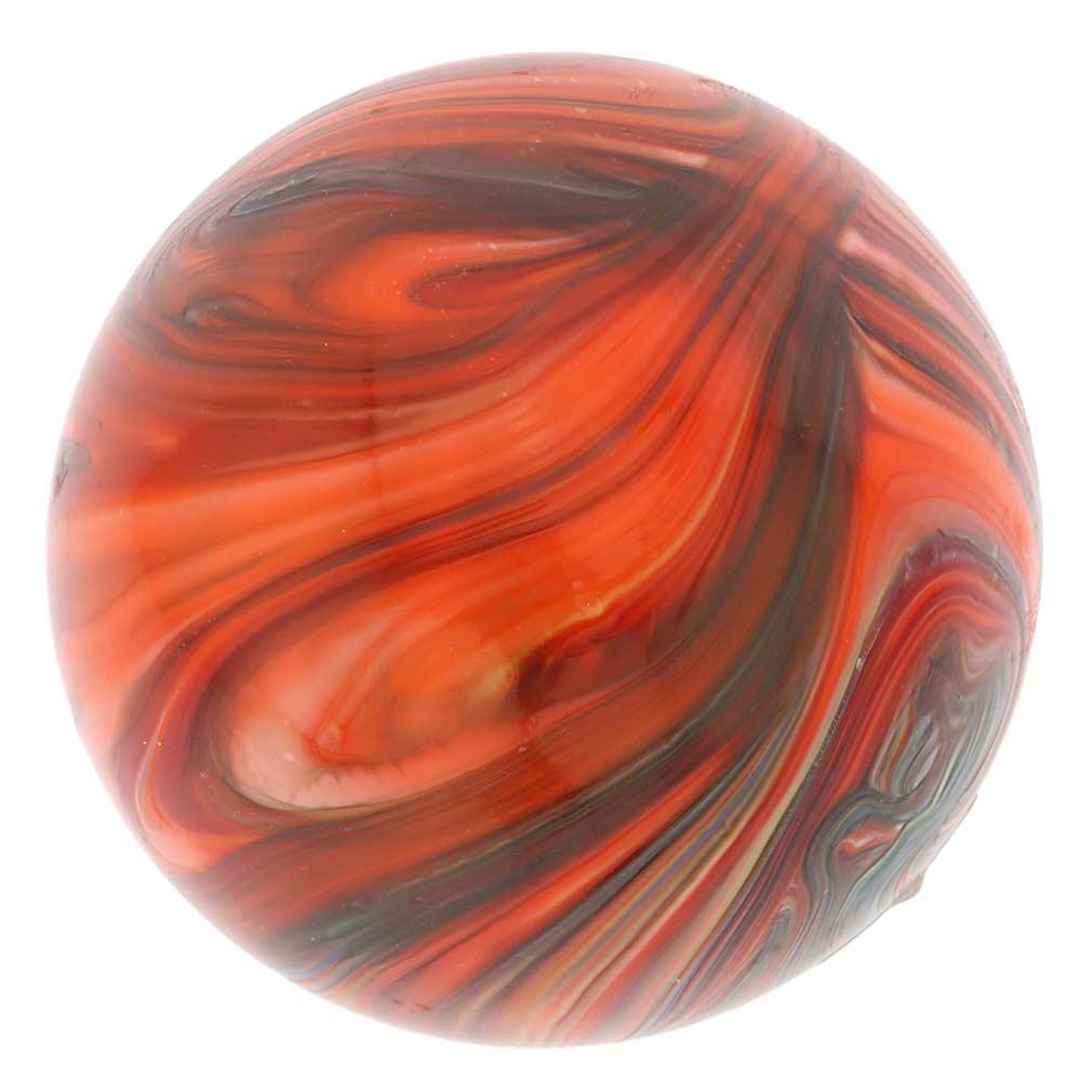 Murano Glass Chalcedony Christmas Ornament - Red Swirl