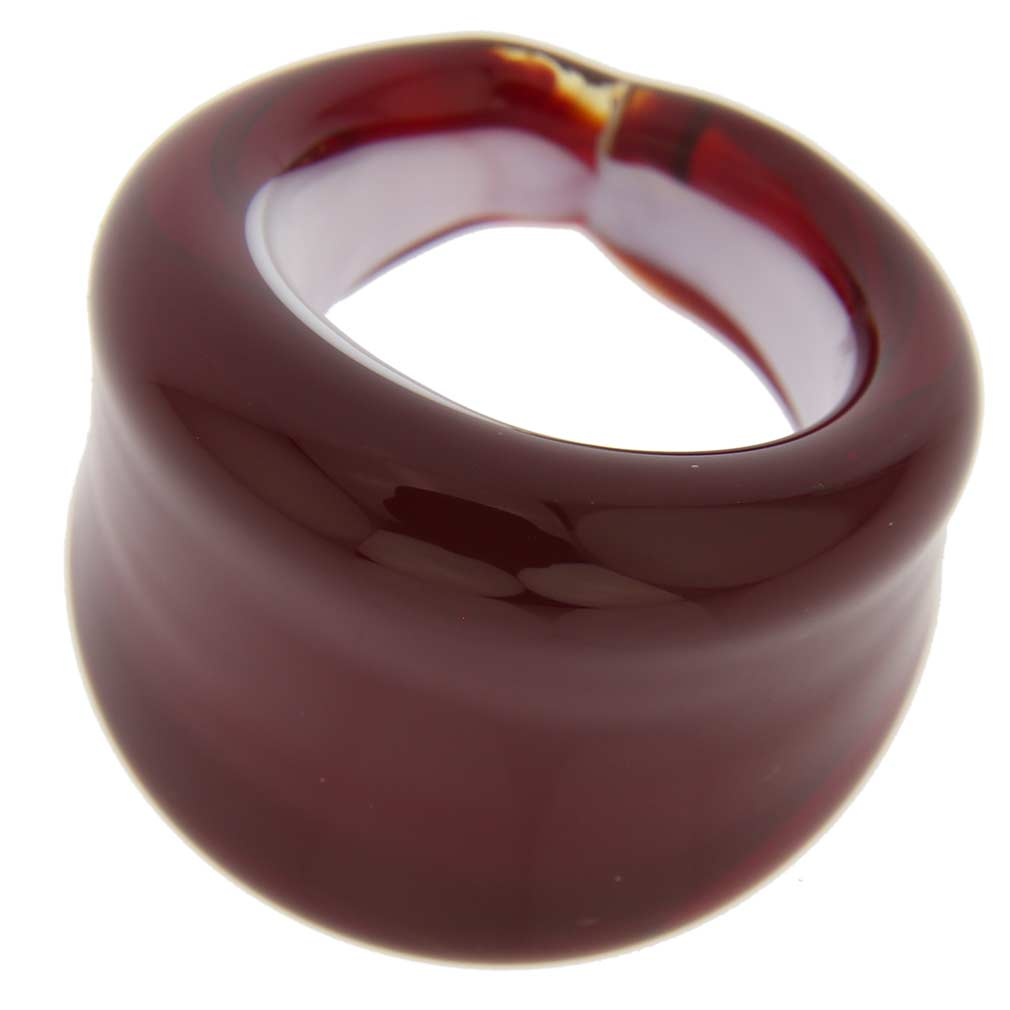 Venetian contemporary ring in flat design - garnet