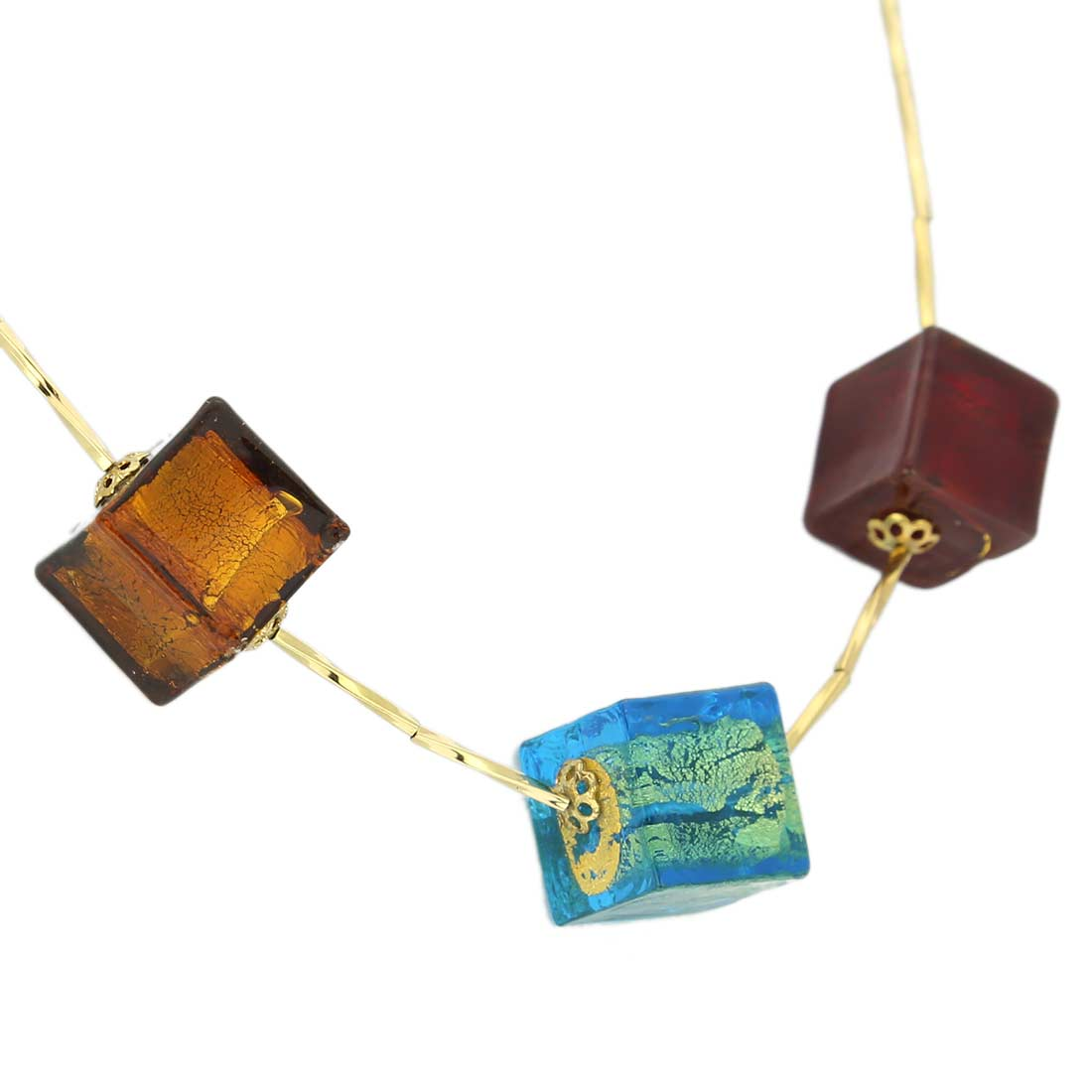 Three Cubes Gold Leaf Murano Necklace