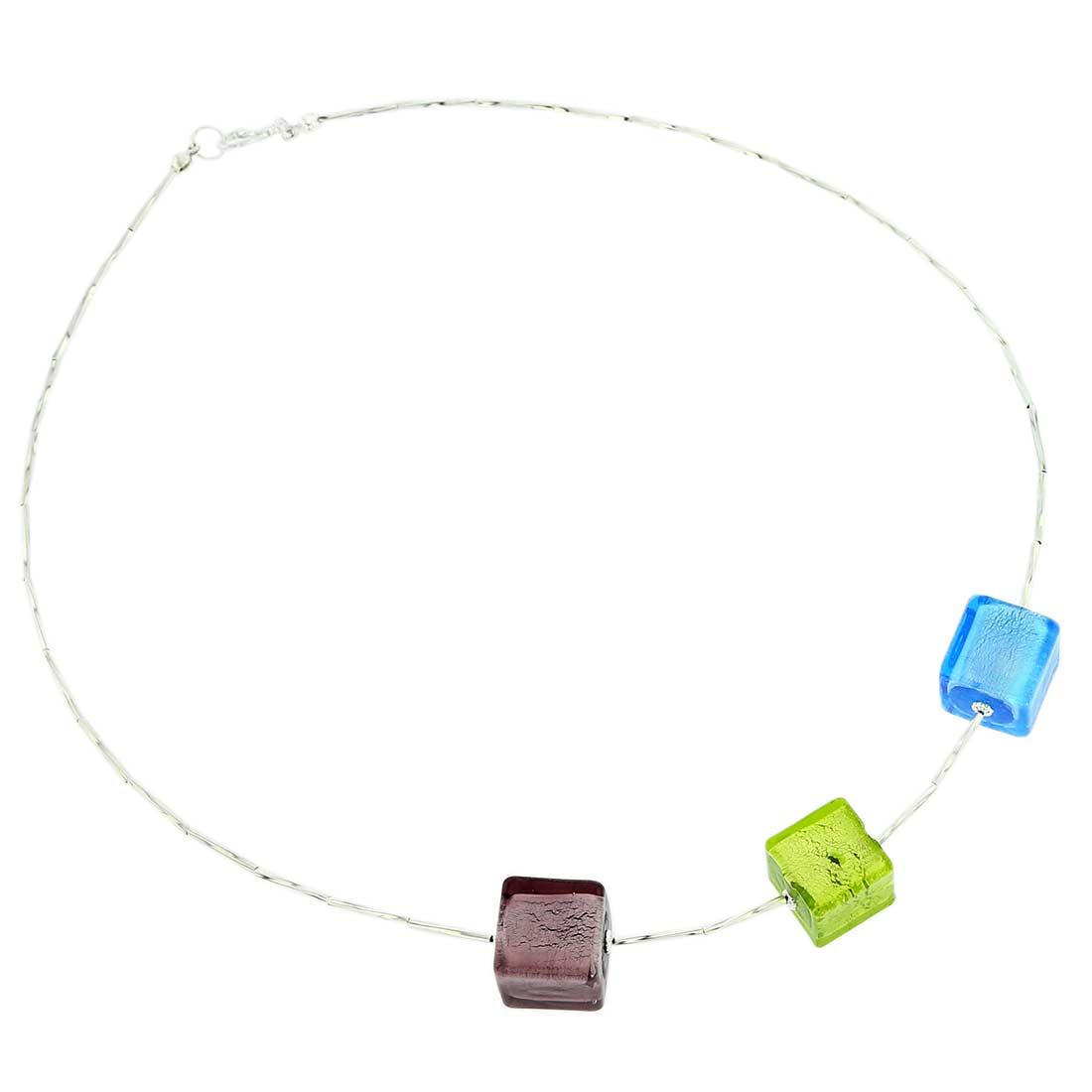 Three Cubes Silver Leaf Murano Necklace