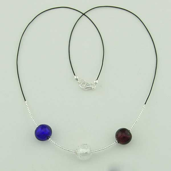 Three Balls Murano Necklace - Silver Leaf