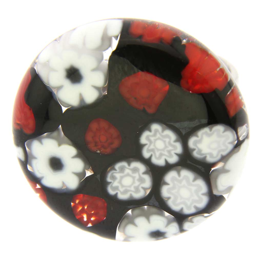 Arlecchino Murano Millefiori Round Ring - Red and Black
