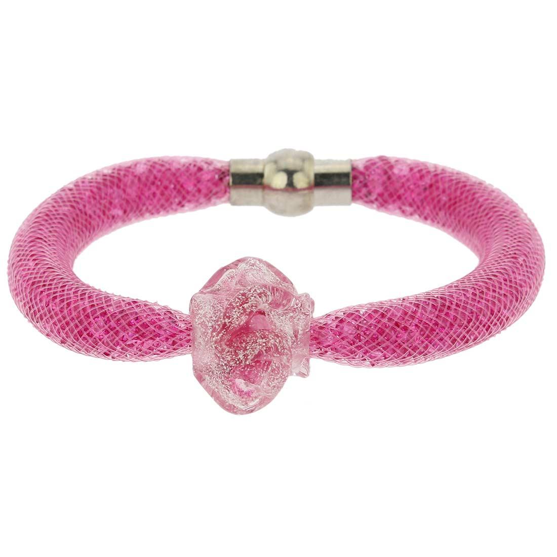 Murano Rose Flower Bracelet - Pink