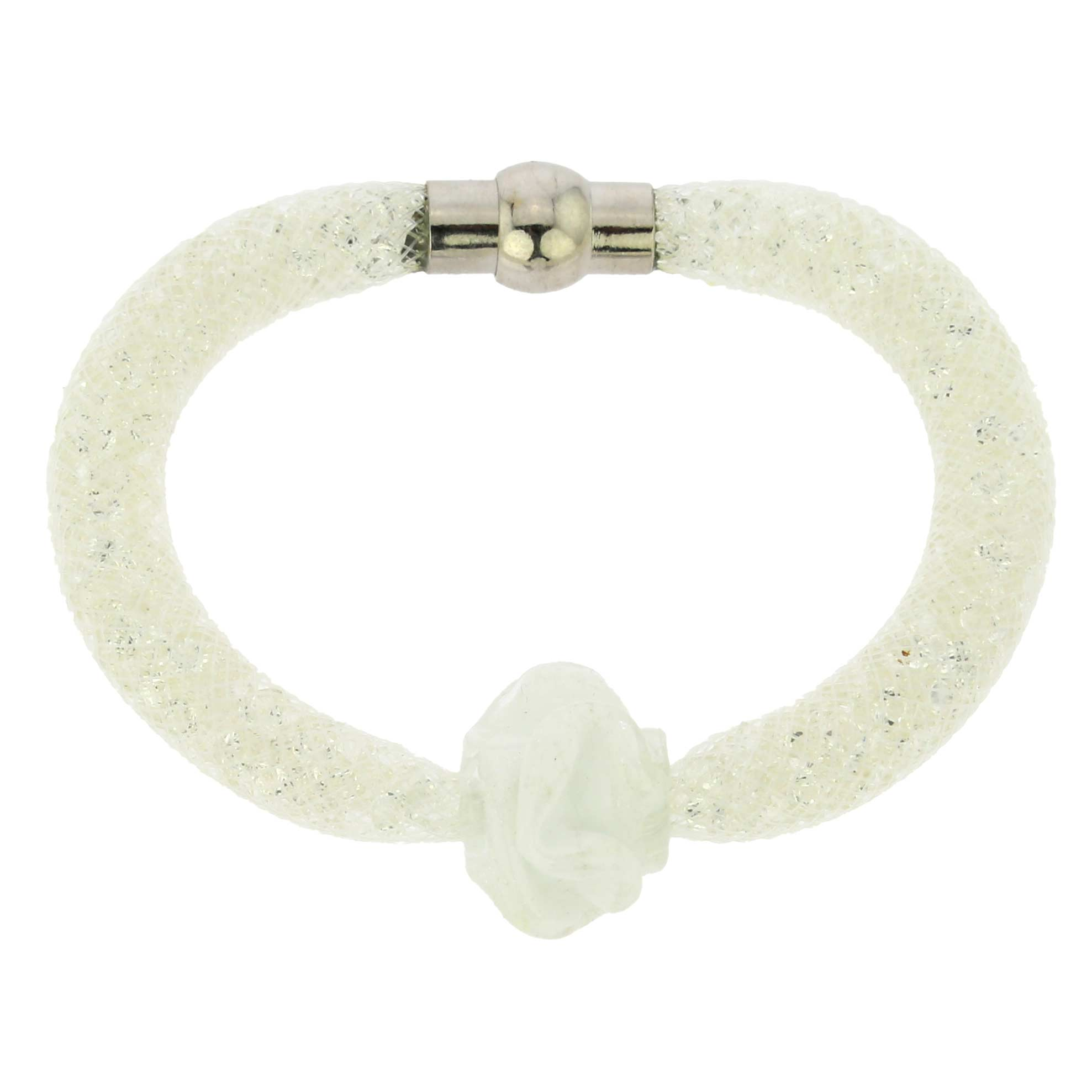 Murano Rose Flower Bracelet - White