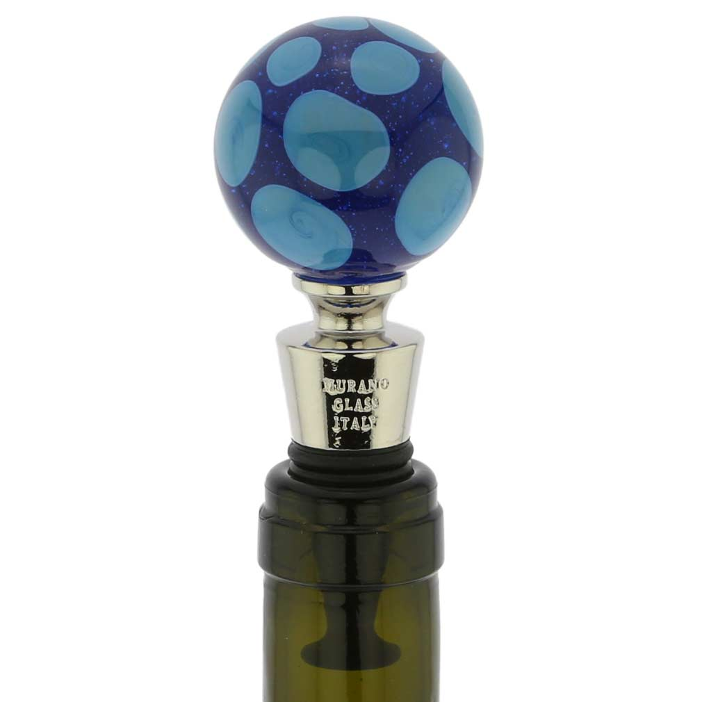 Murano Glass Bottle Stopper - Blue Dots