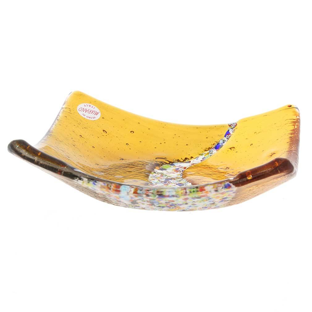 Murano Klimt Square Decorative Plate - Amber