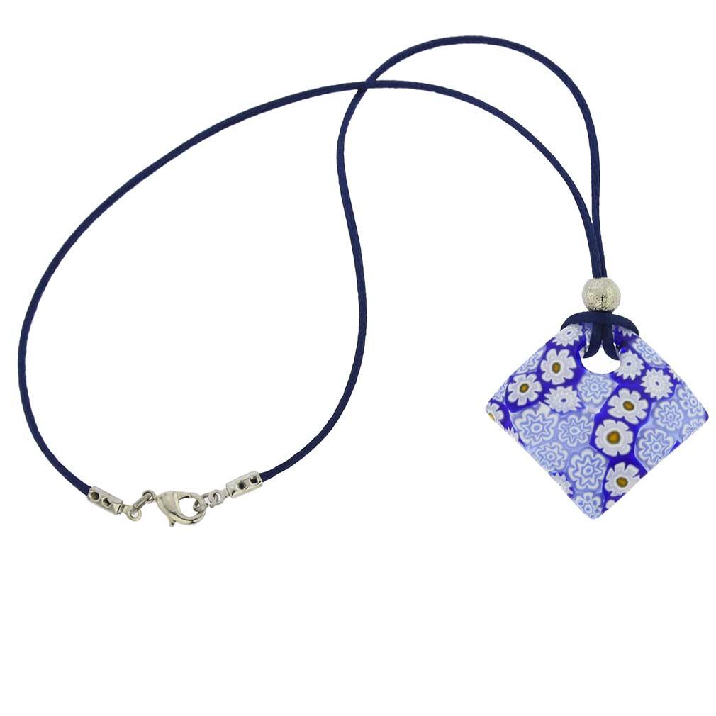 Arlecchino Murano Millefiori Pendant - Blue