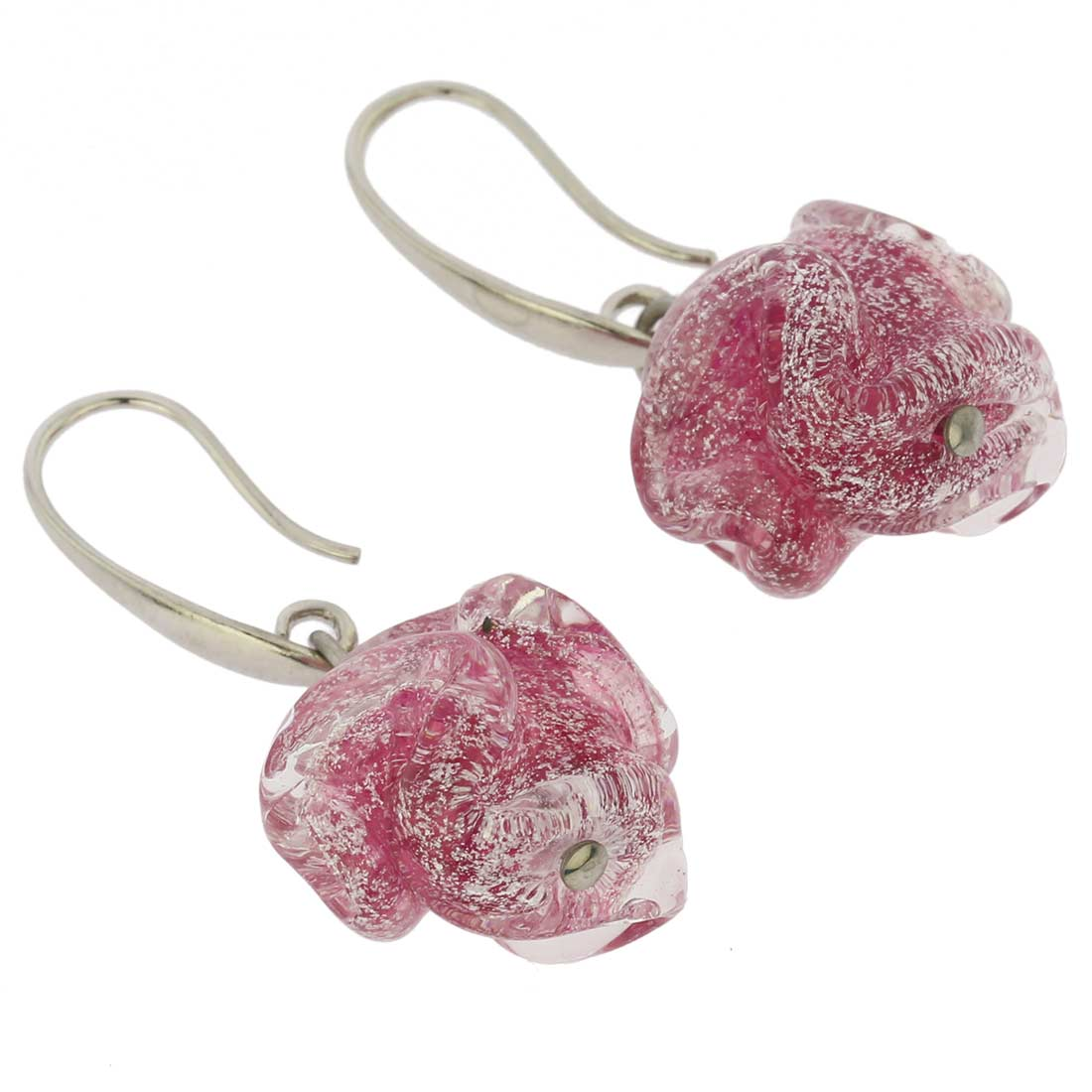 Murano Rose Flower Earrings - Pink