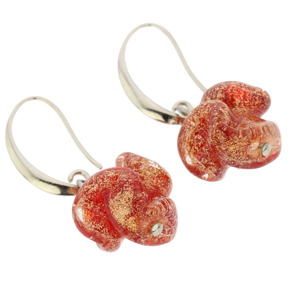 Murano Rose Flower Earrings - Red