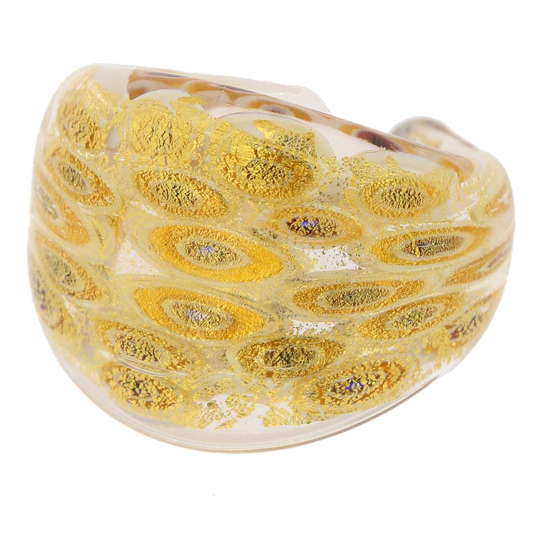 Murano Millefiori Ring In Domed Design - Gold