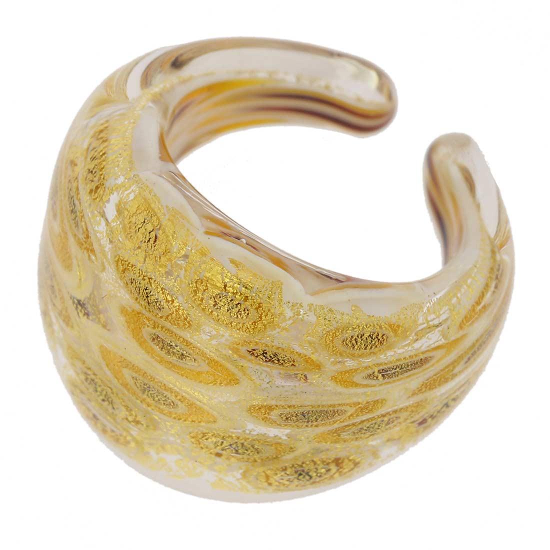Murano Millefiori Ring In Domed Design - Gold