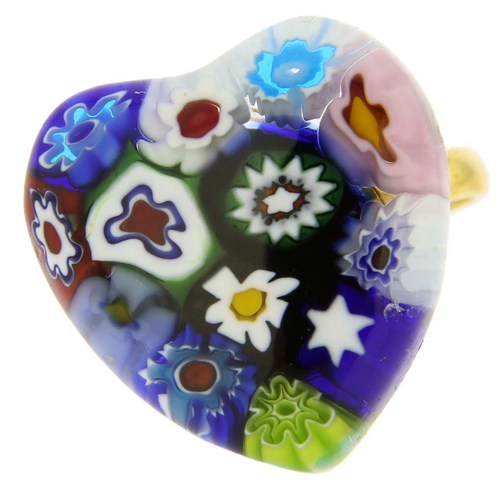 Murano Millefiori Ring in Domed Design - Aqua