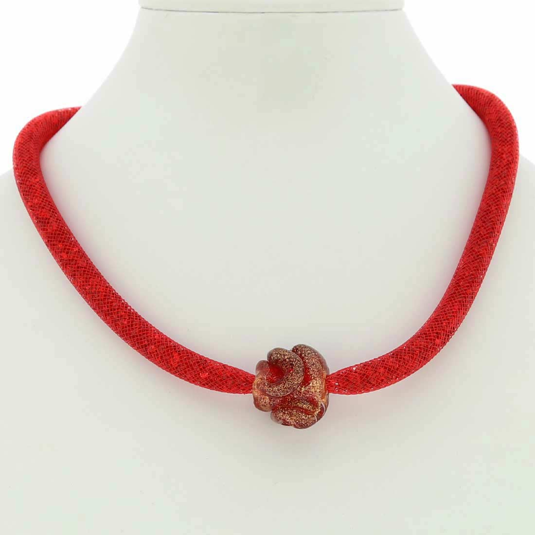 Murano Rose Flower Necklace - Red