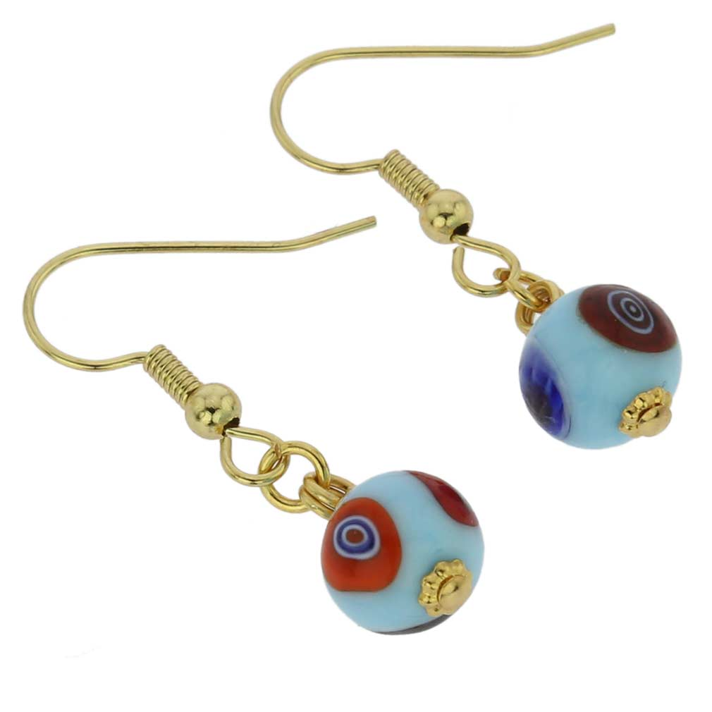 Murano Mosaic Aqua Blue Ball Earrings