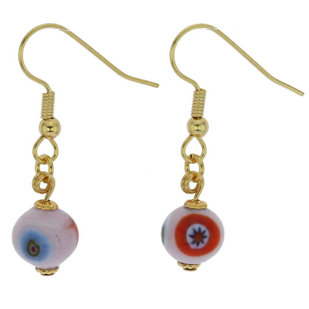 Murano Mosaic Pink Ball Earrings