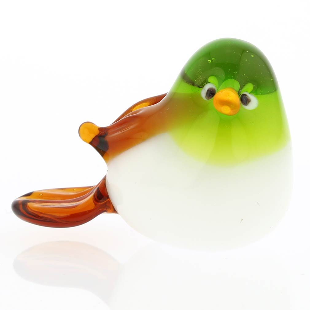 Murano Glass Baby Bird - Green And Amber