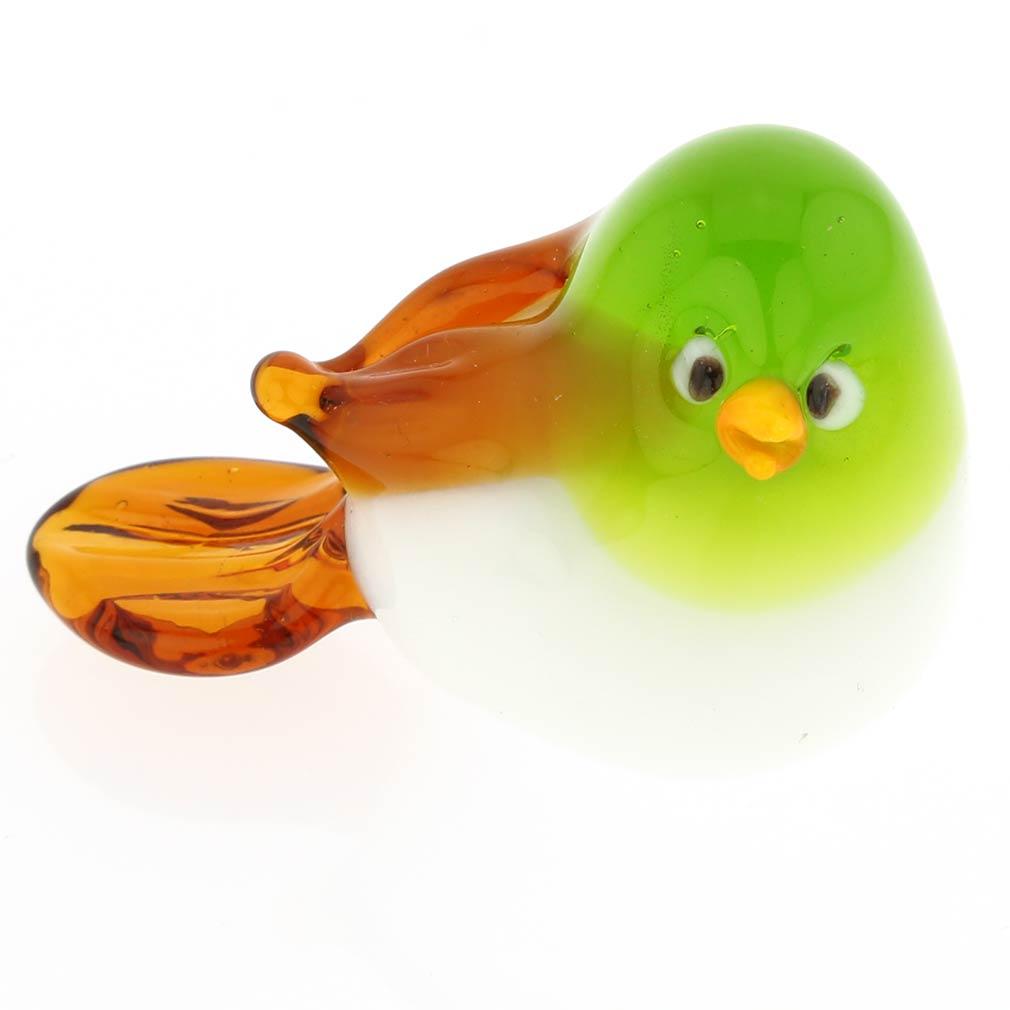 Murano Glass Baby Bird - Green And Amber