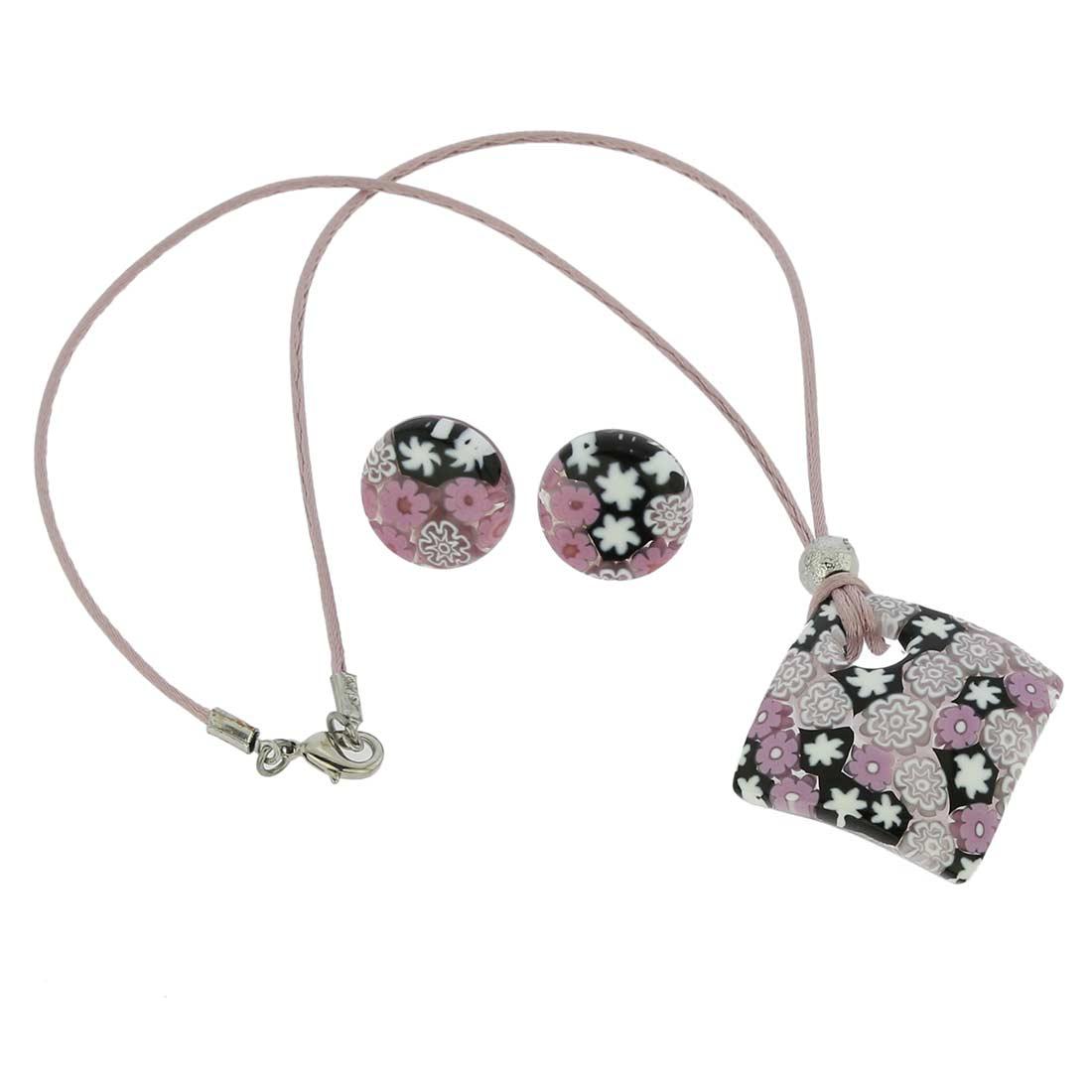 Arlecchino Murano Millefiori Jewelry Set - Lilac