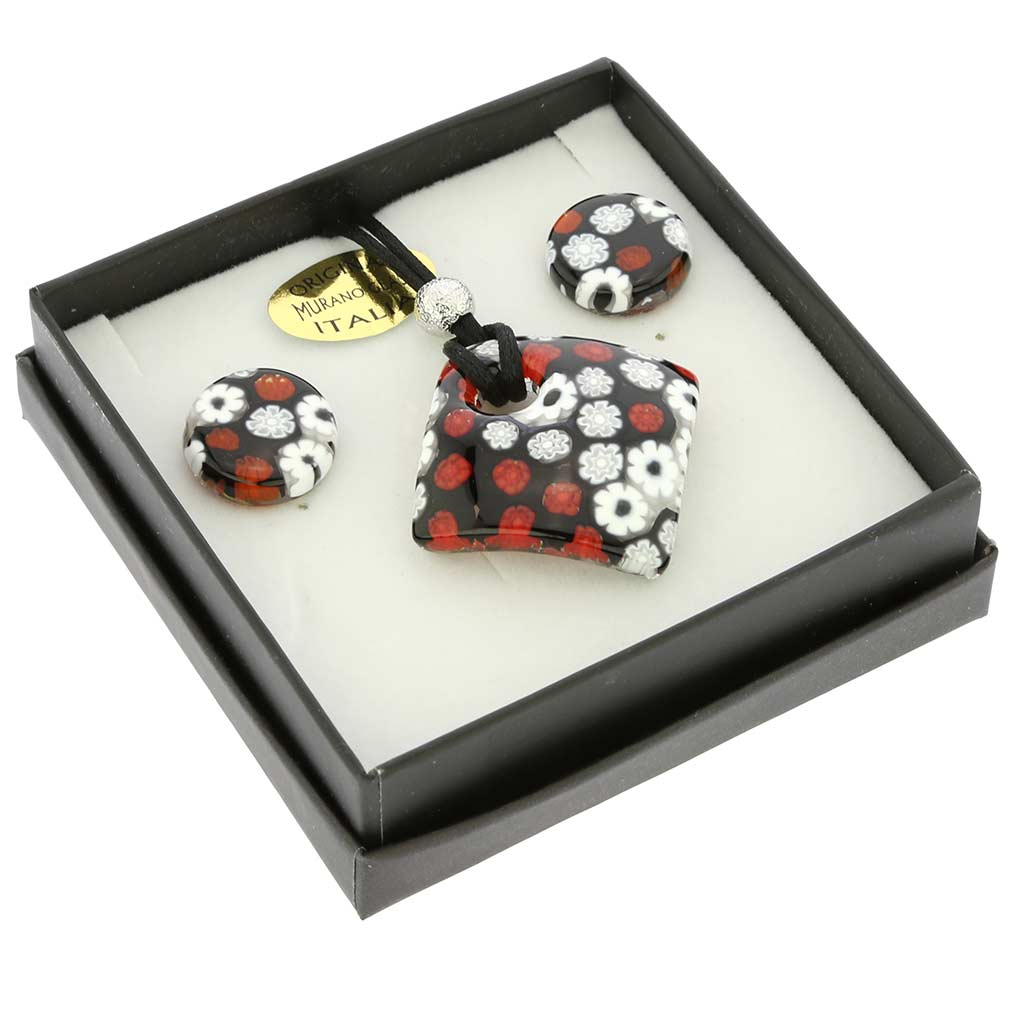 Arlecchino Murano Millefiori Jewelry Set - Red and Black