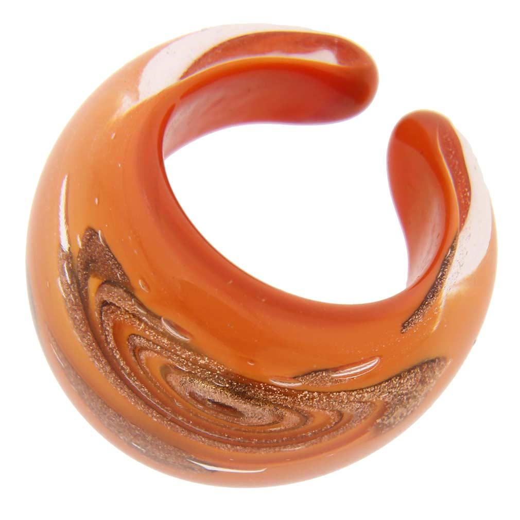 Murano Swirls Ring in Domed Design - Orange