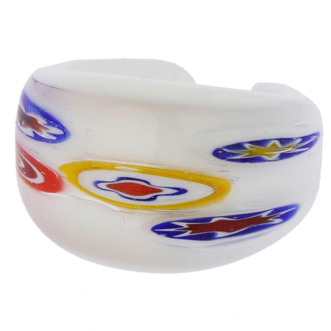 Murano Millefiori Ring In Domed Design - Milky White