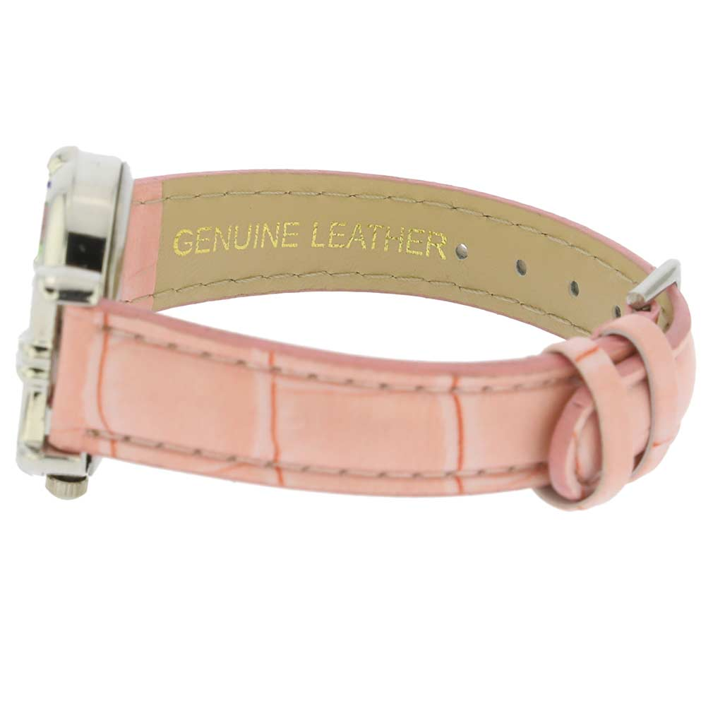 Murano Millefiori Oval Watch with Leather Band - Pink