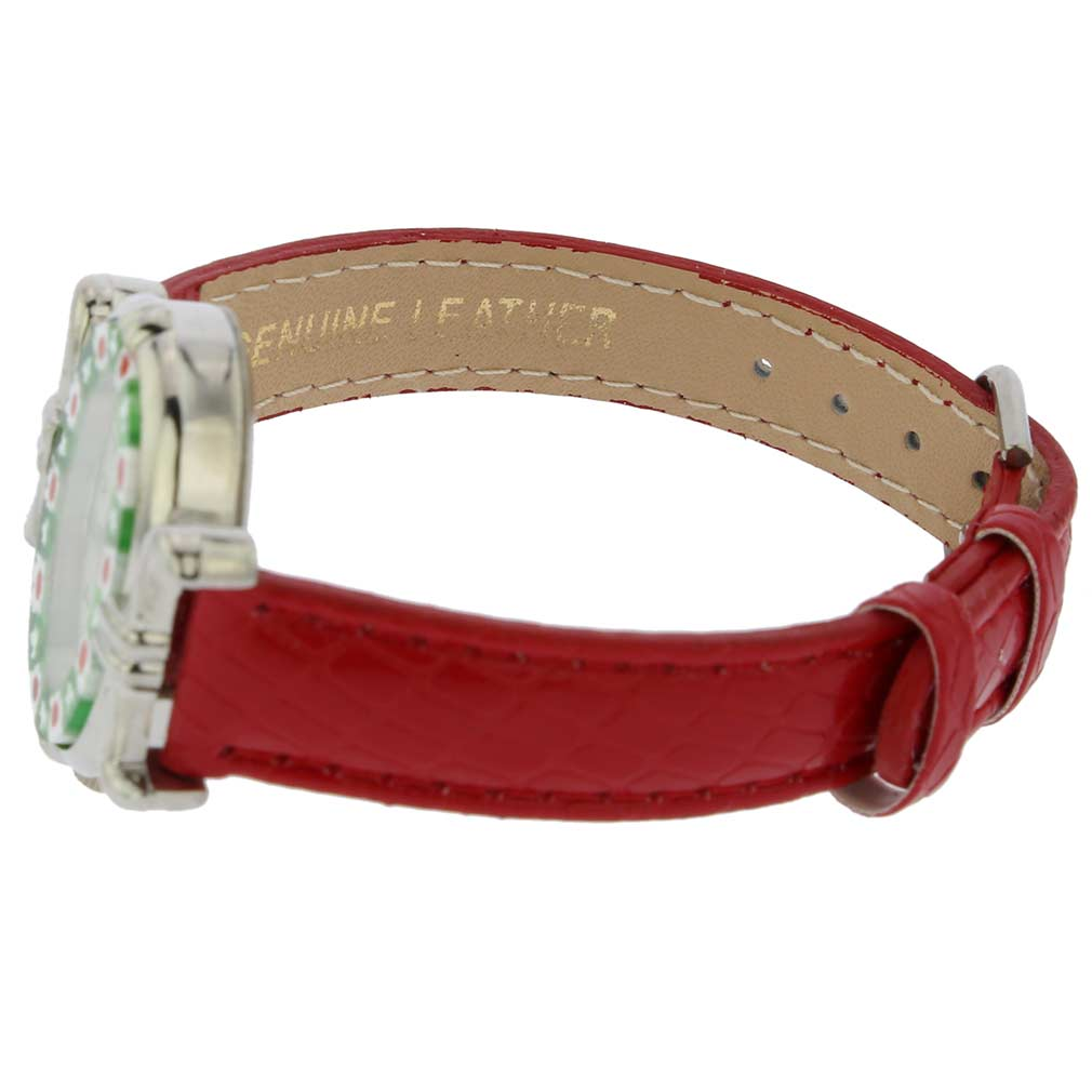 Murano Millefiori Oval Watch with Leather Band - Red