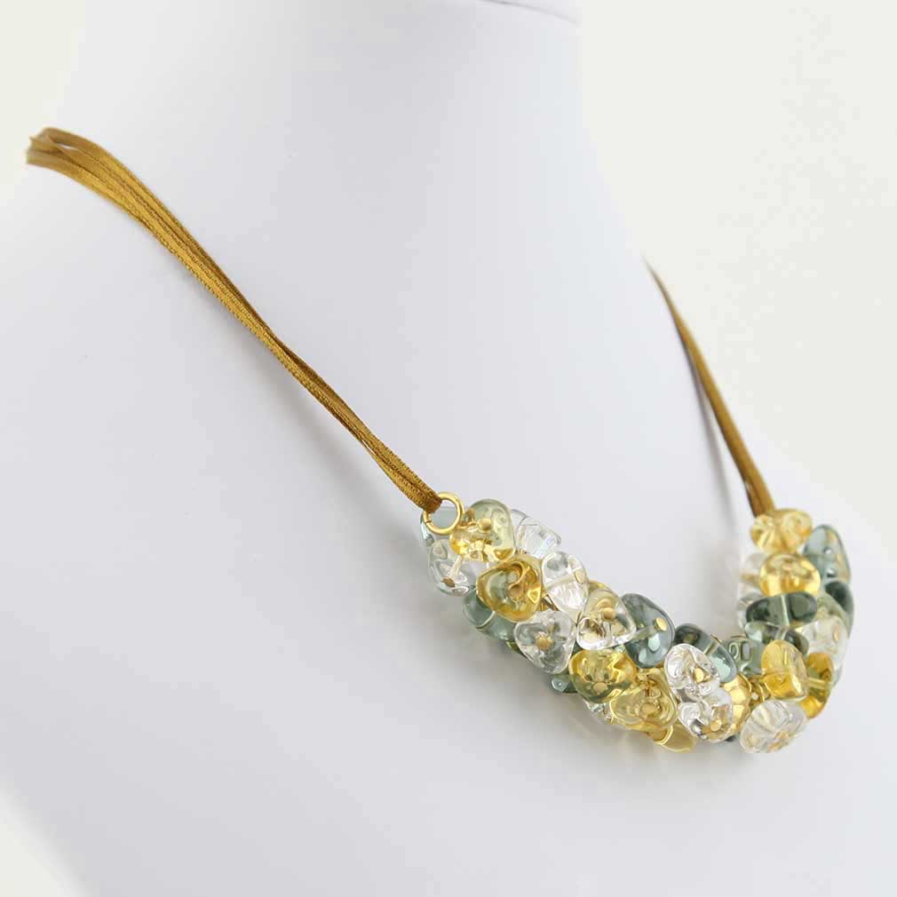 Preziosa Murano Glass Necklace - Gold and Silver Grey