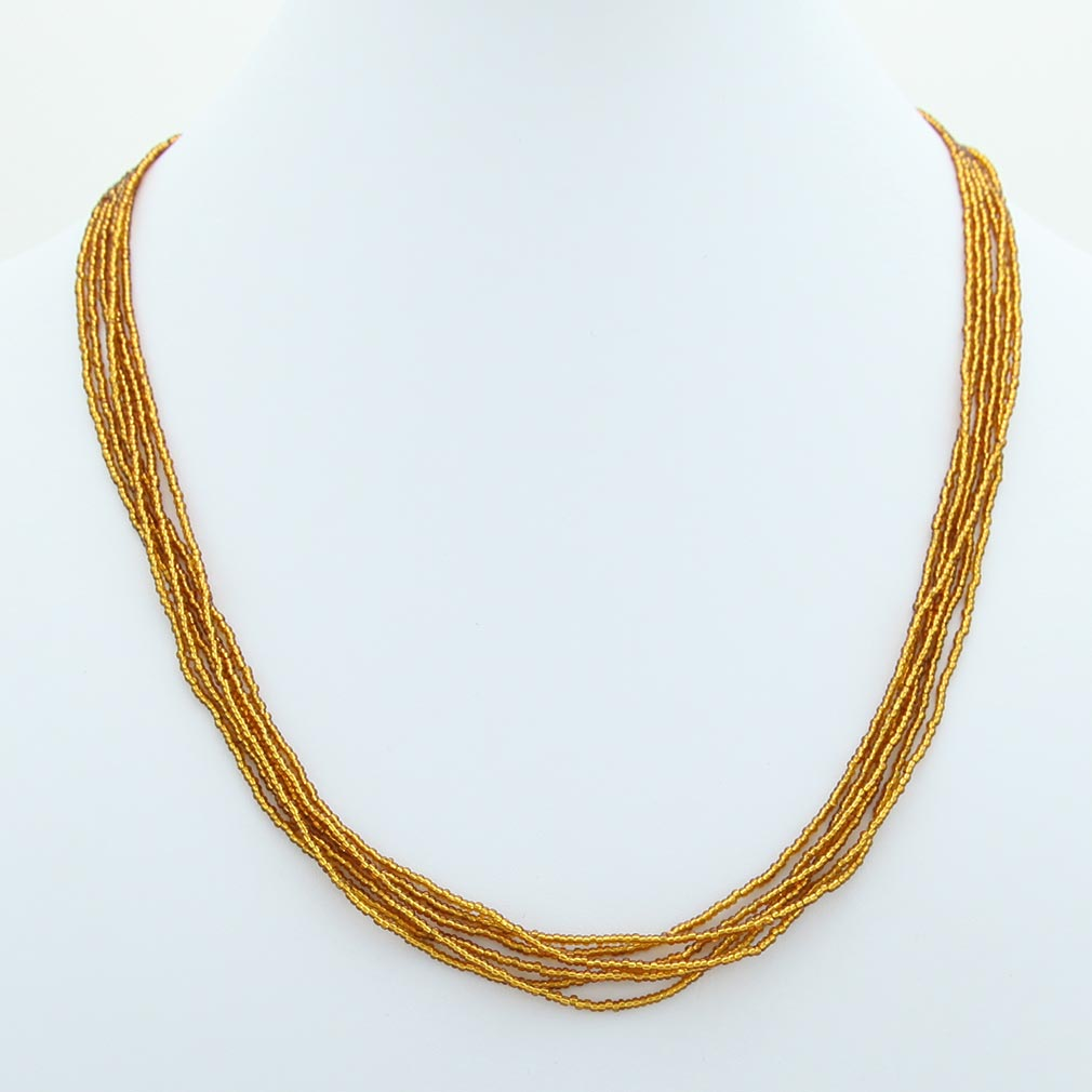 Six Strand Seed Bead Necklace - Amber