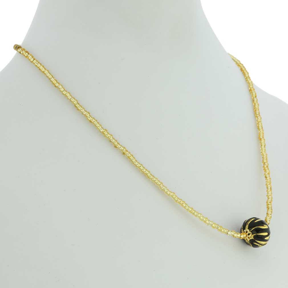 Royal Black Ball Necklace