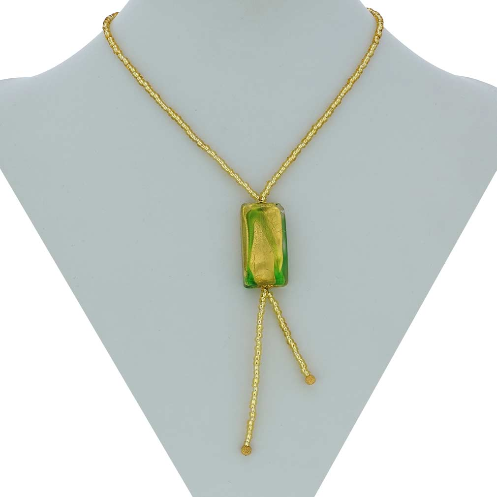 Royal Green Block tie necklace