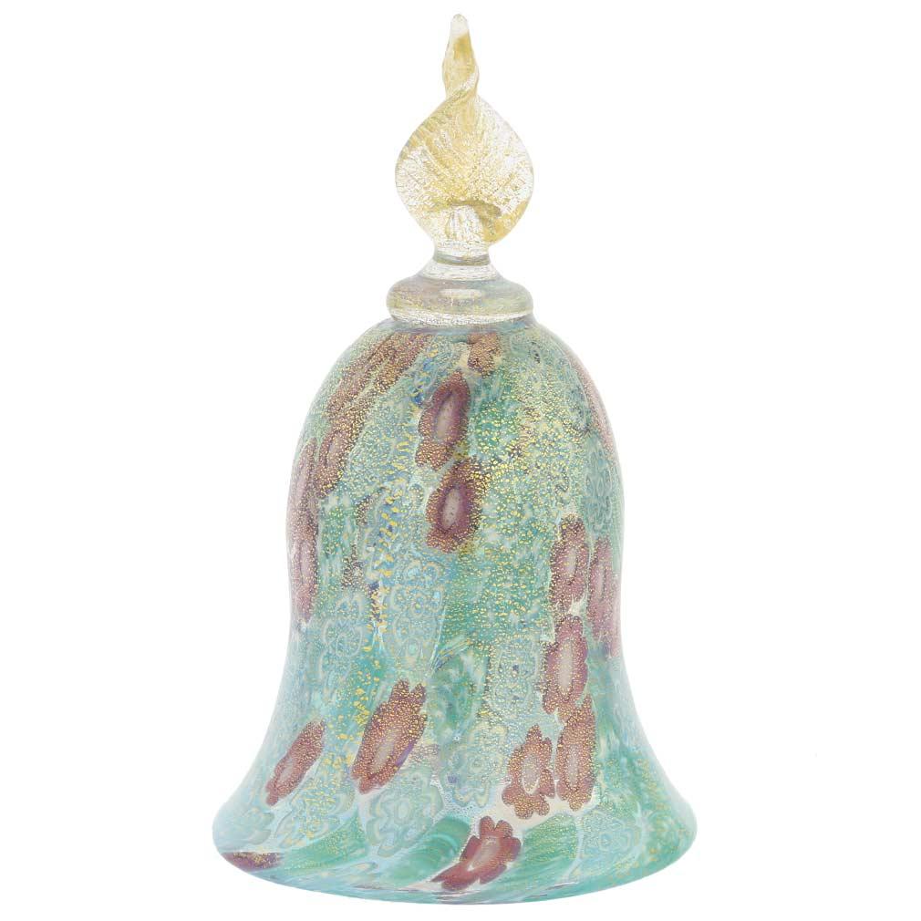 Golden Quilt Aqua Millefiori Bell