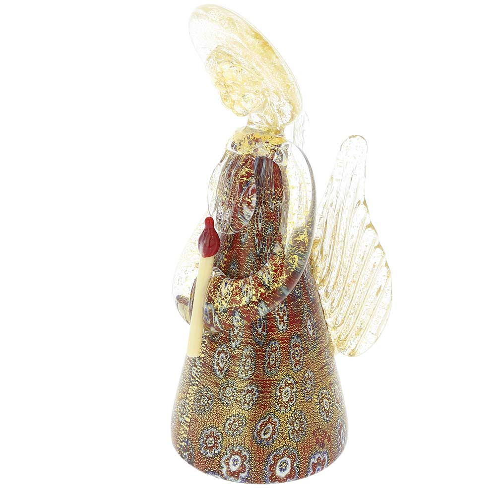 Millefiori Murano Glass Angel - Red