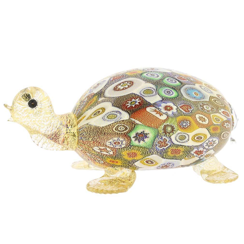 Golden Quilt Millefiori Murano Turtle