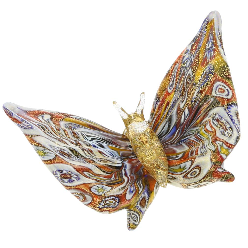 Golden Quilt Millefiori Murano Glass Butterfly