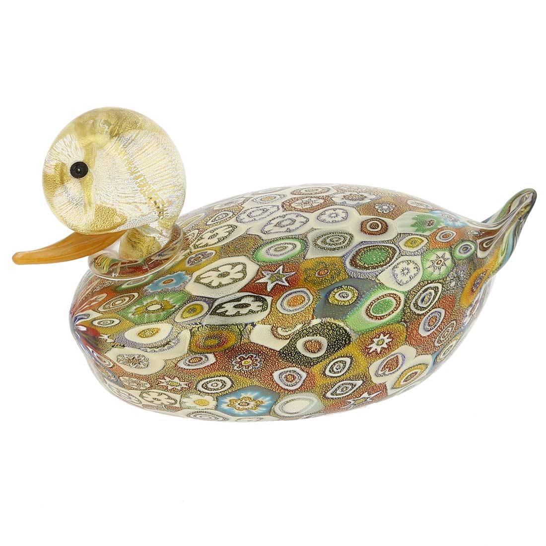 Golden Quilt Millefiori Murano Duck- Large