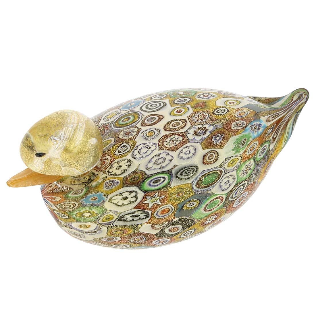 Golden Quilt Millefiori Murano Duck- Large