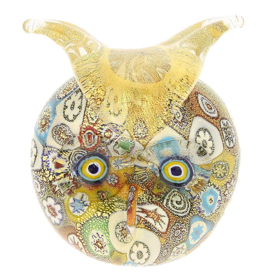 Golden Quilt Millefiori Murano Owl