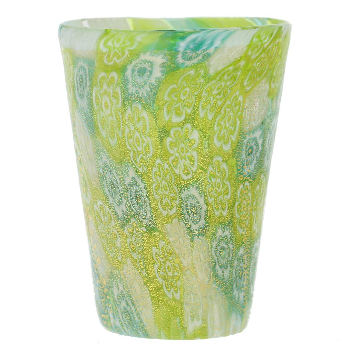 Murano Millefiori Shot Glass - Green Gold