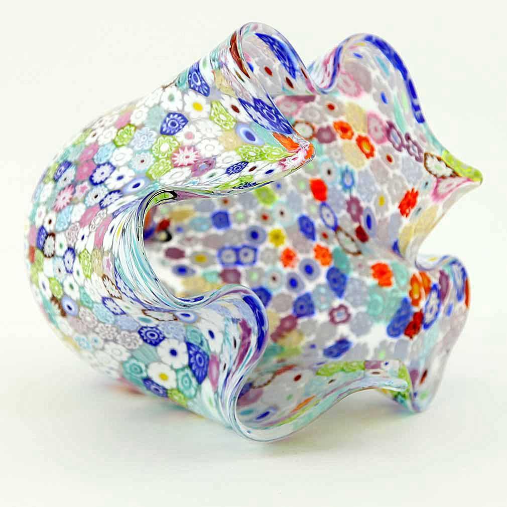 Murano Glass Millefiori Fazzoletto Bowl - Transparent Multicolor