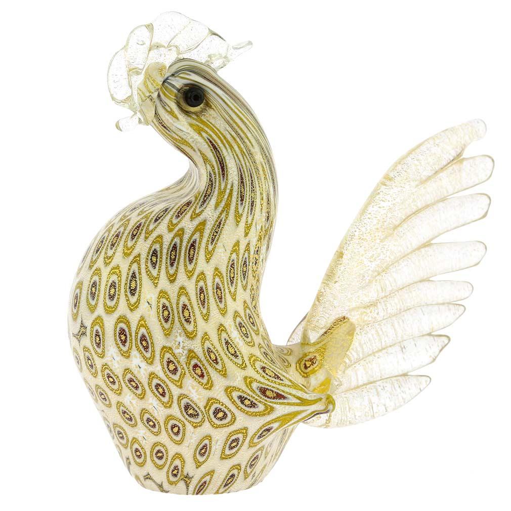 Murano Glass Millefiori Rooster - Ivory