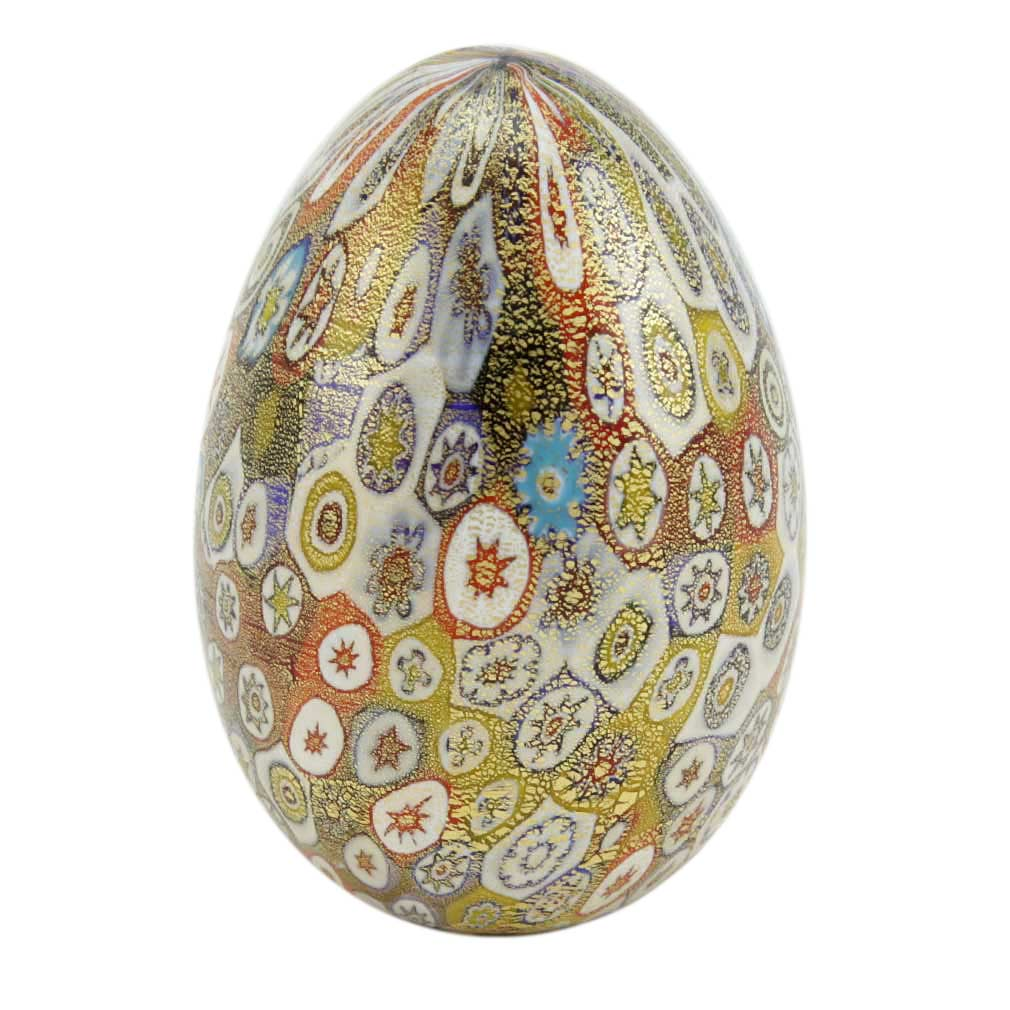 Golden Quilt Millefiori Murano Egg - Multicolor